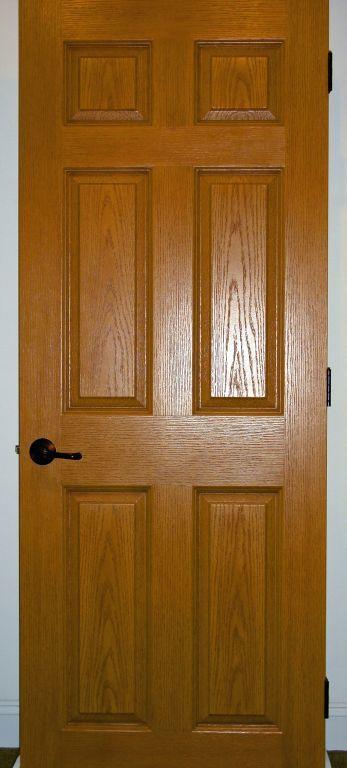 Oak Stained Solid Core 6 Panel Interior Door Modular