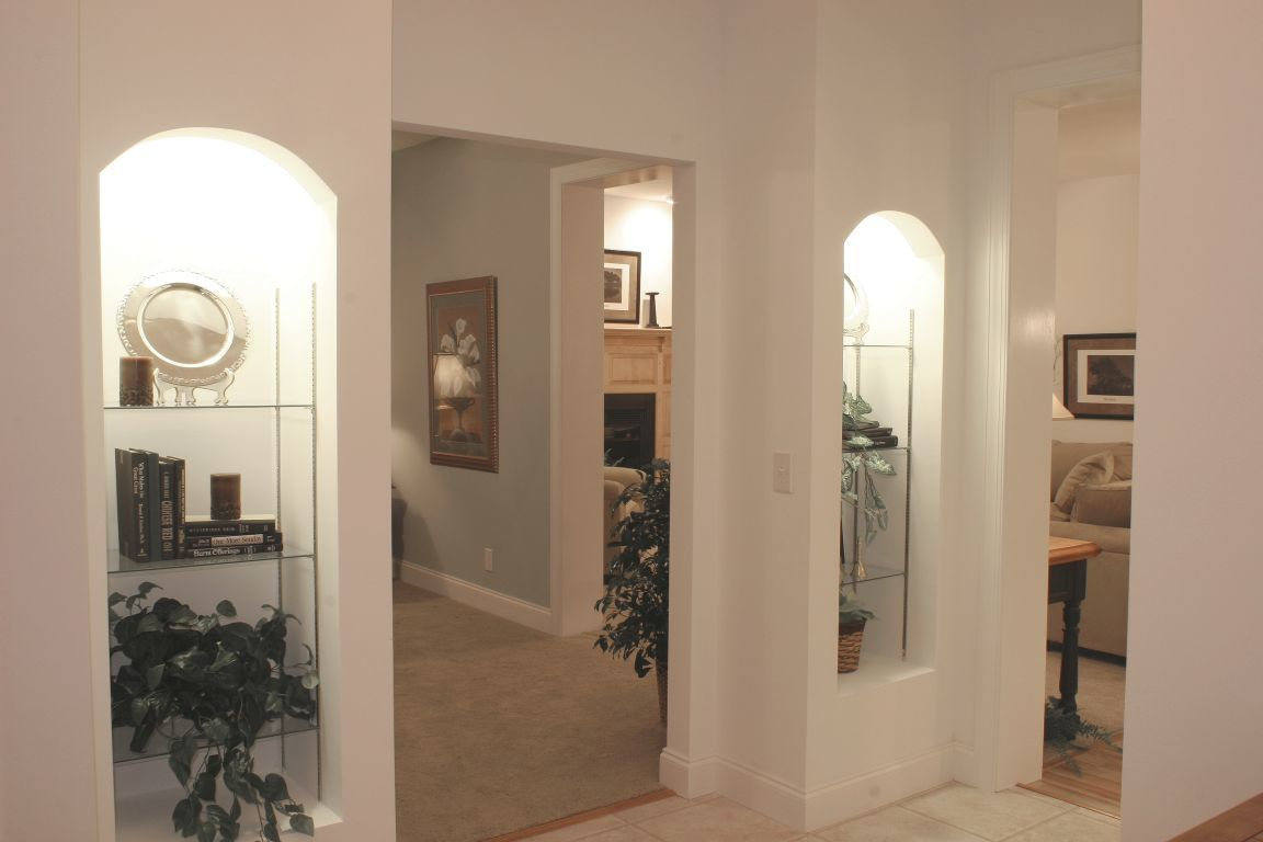 Drywall Alcoves With Glass Shelves Amp Recessed Can Lights