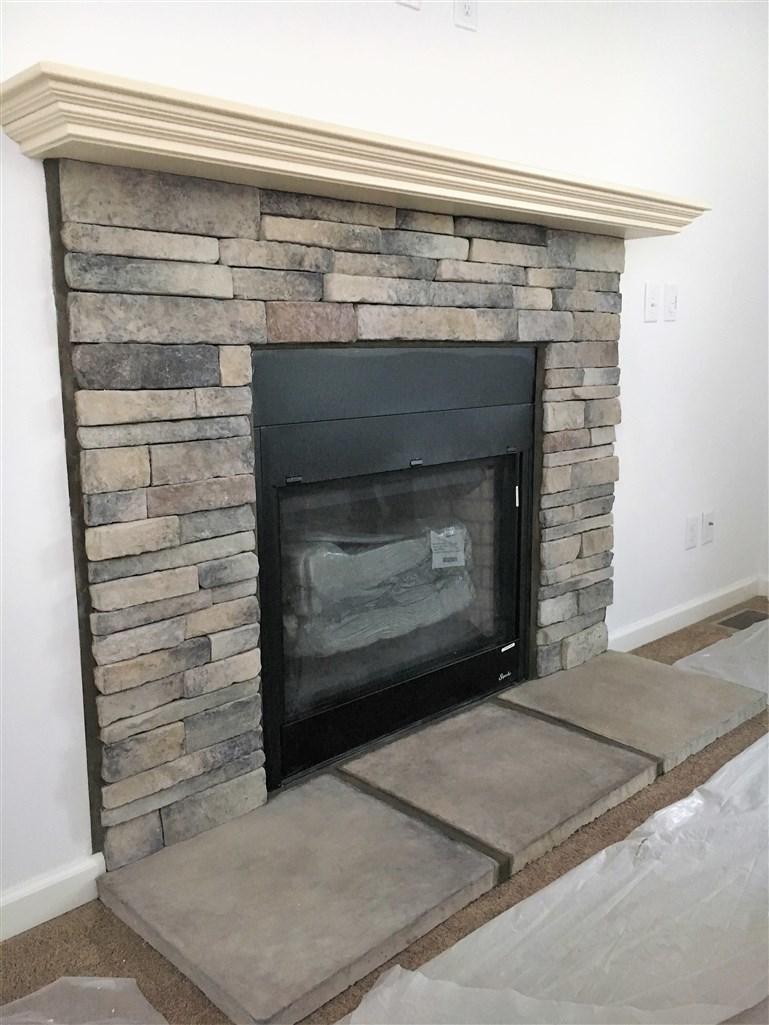Hand Laid Full Greystone Fireplace With Oak Mantel