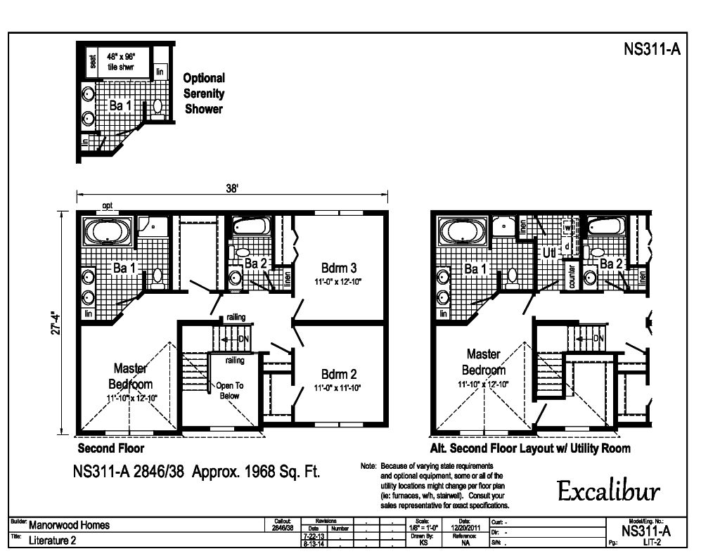 Manorwood Two Story Homes Excalibur NS311A – Manorwood Homes Floor Plans