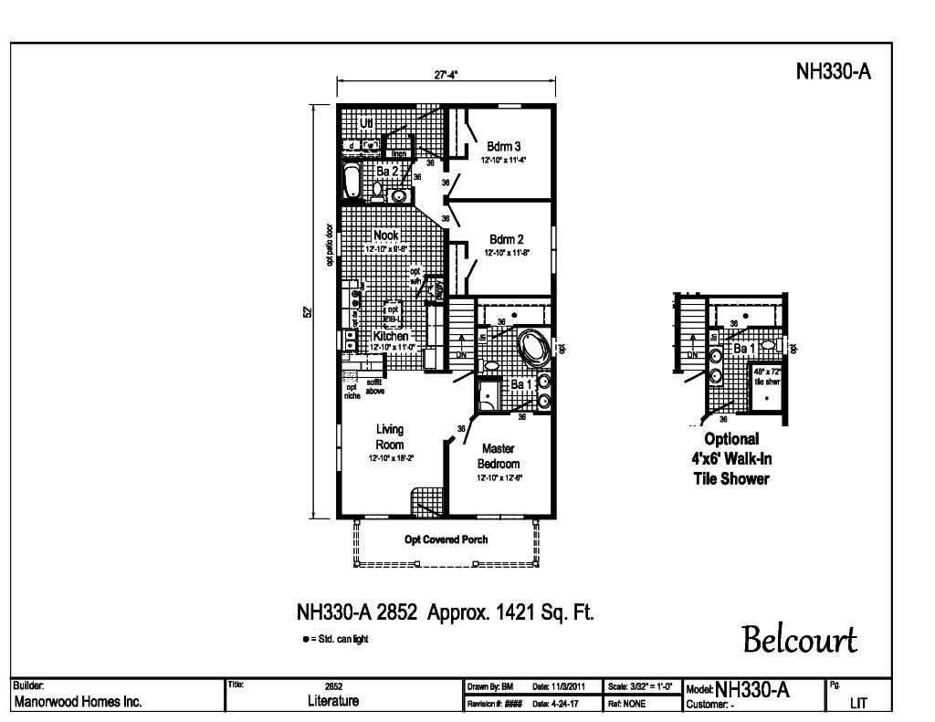 Manorwood Ranch Cape Homes Belcourt NH330A – Manorwood Homes Floor Plans